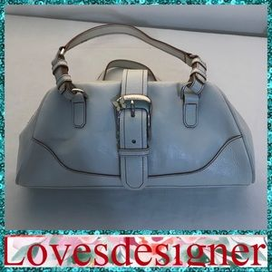 Franco Sarto Butterfly Leather White Satchel Bag